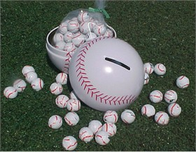 Baseball Bank Filled With Chocolate Baseballs