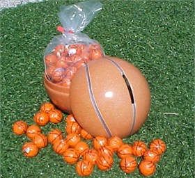 Basketball Bank Filled With Chocolate Basketballs