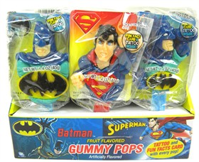 Batman & Superman Gummy Lollipops 18 Count
