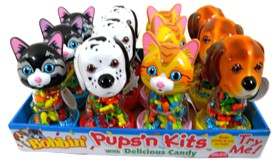 Bobble Head Puppies & Kitten Candy Dispensers 12ct