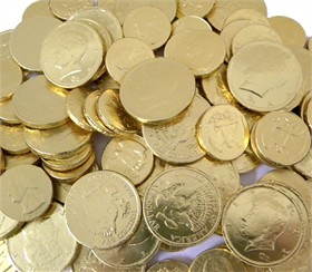 Gold Coins Chocolate Quarters & Half Dollars  24lb Bulk