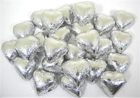 Silver Wrapped Chocolate Hearts 2lb
