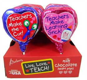 Chocolate Heart Lollipops  18 Count