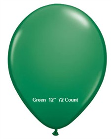 "Green Latex Balloons 12"" 72 Count Bag"