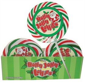 Holly Jolly Christmas Whirly  Lollipop 12ct