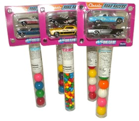 Classic Car Racers With Candy 12ct ( Real Die cast)