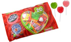 Jolly Rancher Heart Shaped Valentine's Lollipops 28ct