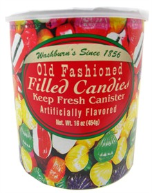 Old Fashioned FILLED Candy 16oz Can Washburn's (red)