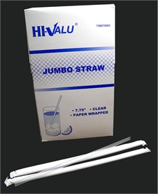 Plastic Drinking Straws 500ct Wrapped 7 3/4""