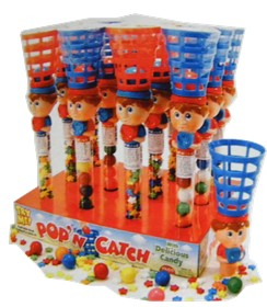 Pop and Catch Baseball Toy With Gumballs 12ct
