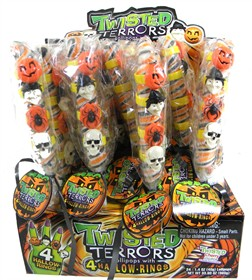 Twister Terror Lollipops With 4 Halloween Rings 24ct